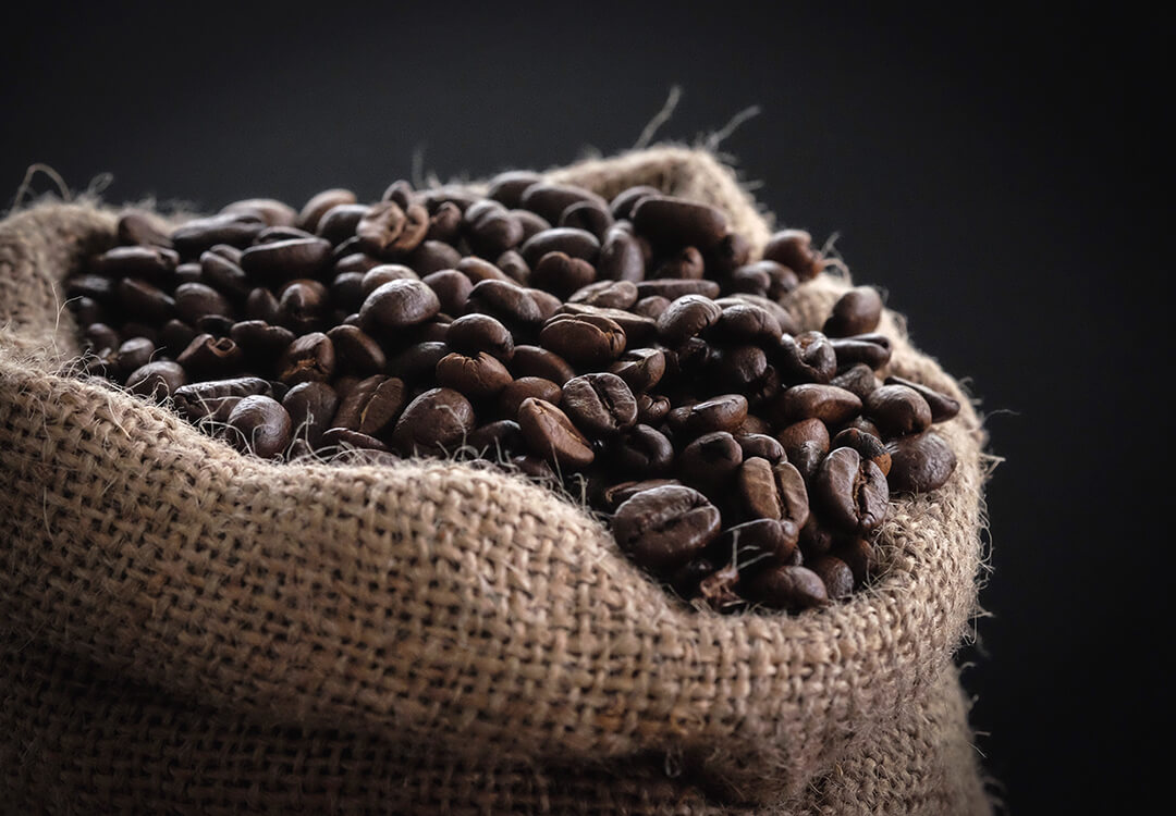 Bag or roasted coffee beans