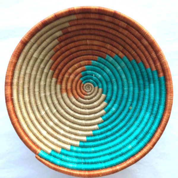 Traditional Rwandan made Basket Bronze, Cyan and Light Brown Swirl