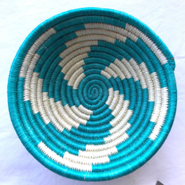 Traditional Rwandan made Basket Light Blue & White Swirl