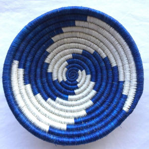 Traditional Rwandan made Basket Blue & White Swirl