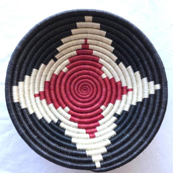Traditional Rwandan made Basket Black, White,Red star