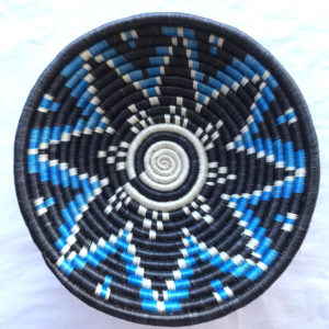 Traditional Rwandan made Basket Black and Blue star