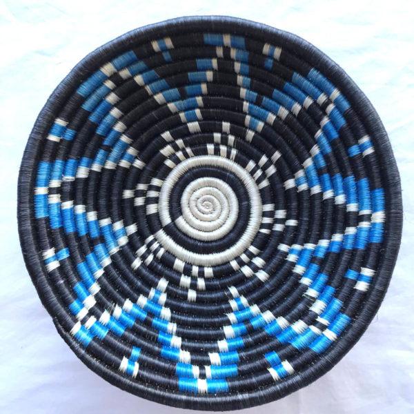 Traditional Rwandan made Basket Black and Blue star