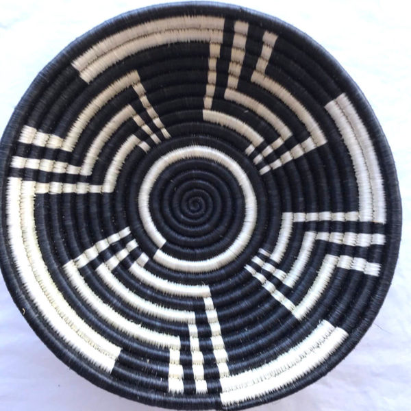 Traditional Rwandan made Basket Black and White Pattern