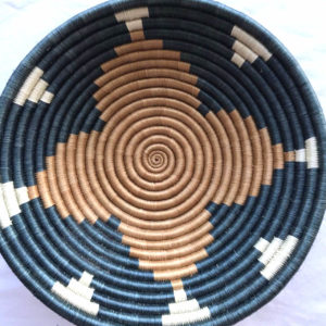 Traditional Rwandan made Basket Blue, Brown star