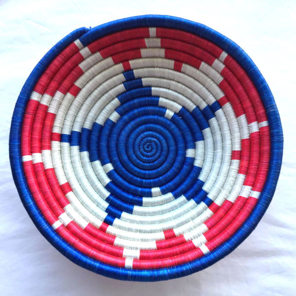 Traditional Rwandan made Basket Blue, White and Red star