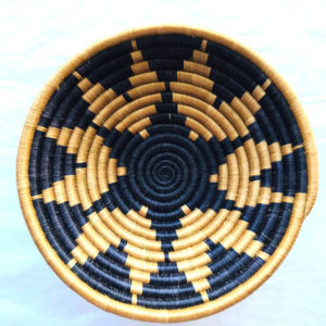 Traditional Rwandan made Basket Blue and Sisal Pattern