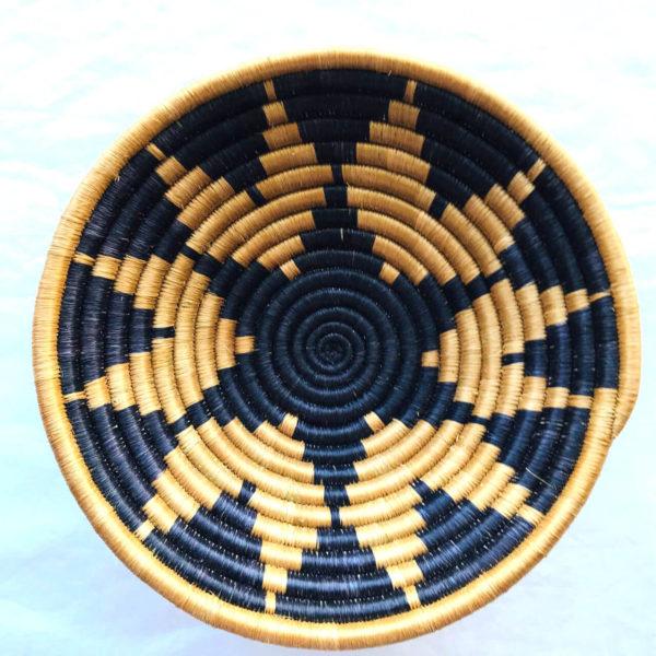 Traditional Rwandan made Basket Blue and Sisal Pattern
