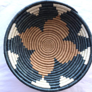 Traditional Rwandan made Basket Blue and brown Pattern