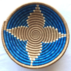 Traditional Rwandan made Basket Blue and brown star