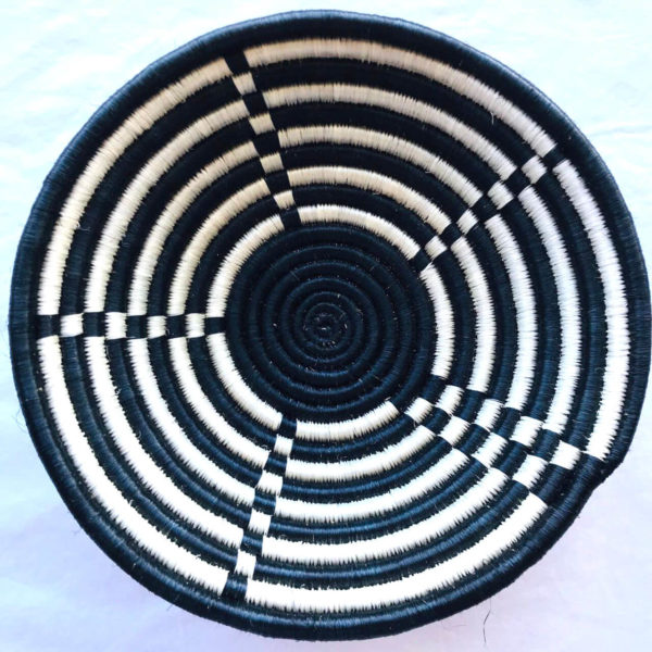 Traditional Rwandan made Basket Blue and white striped