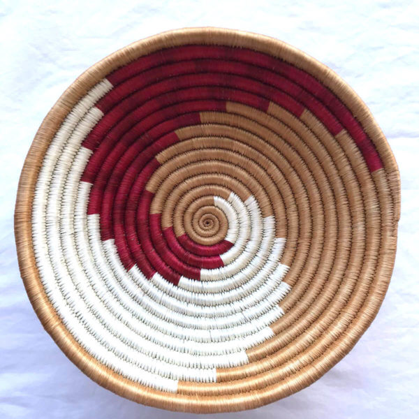Traditional Rwandan made Basket Brown, White and Red Swirl