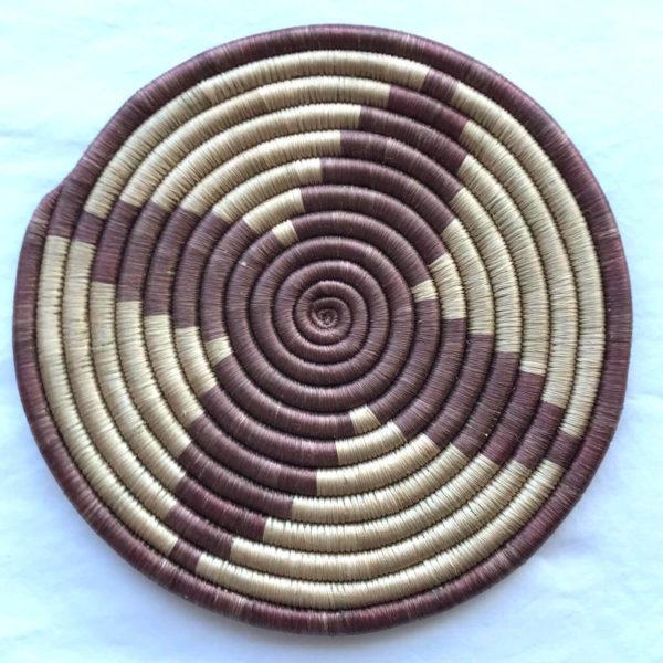 Traditional Rwandan made Basket Brown and Sisal star