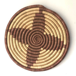 Traditional Rwandan made Basket Brown and Sisal star 2