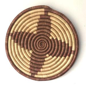 Traditional Rwandan made Basket Brown and Sisal star 2