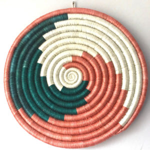 Traditional Rwandan made Basket Green, Red and White Swirl