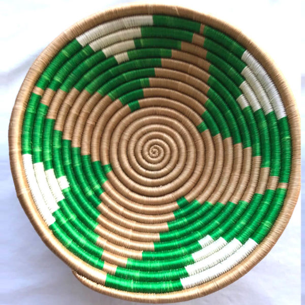 Traditional Rwandan made Basket Green and White star
