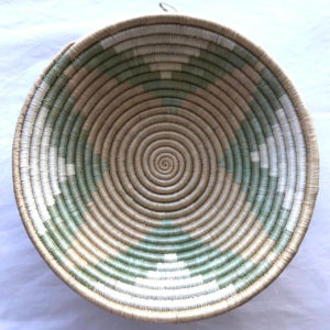 Traditional Rwandan made Basket Green, brown and white star