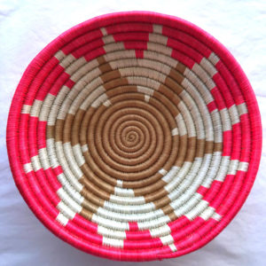 Traditional Rwandan made Basket Pink, Brown and White star-2