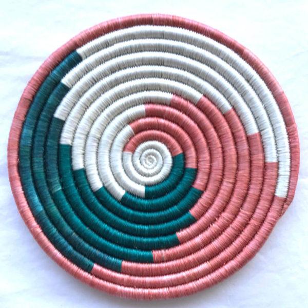 Traditional Rwandan made Basket Pink, Green and White swirl