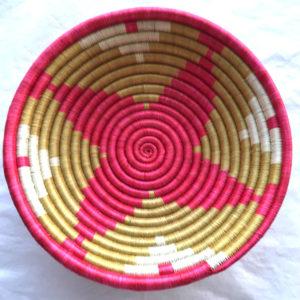 Traditional Rwandan made Basket Pink, White and Sisal star