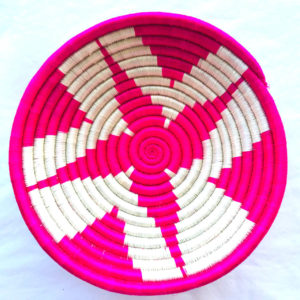 Traditional Rwandan made Basket Pink and White star