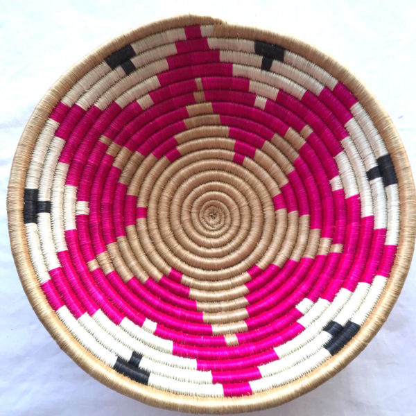 Traditional Rwandan made Basket Pink, brown and white star