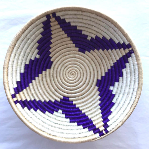 Traditional Rwandan made Basket Purple and White star