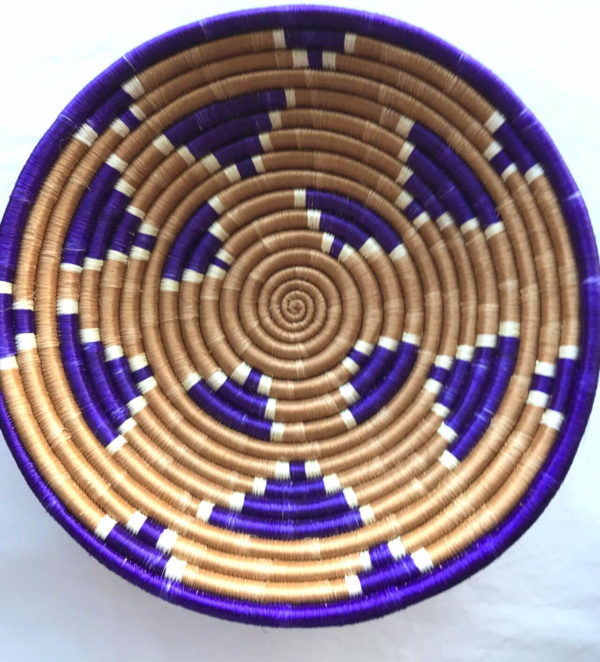 Traditional Rwandan made Basket Purple and brown pattern