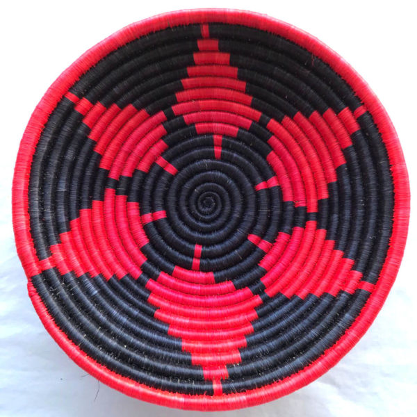 Traditional Rwandan made Basket Red & Black Pattern