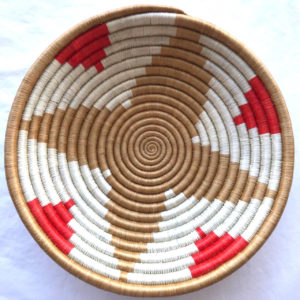 Traditional Rwandan made Basket Red, White and Brown star