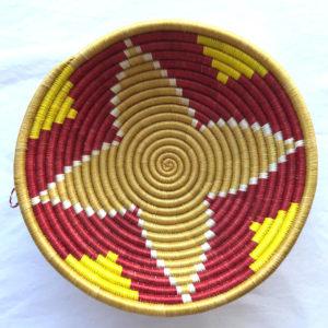 Traditional Rwandan made Basket Red, Yellow and Sisal star