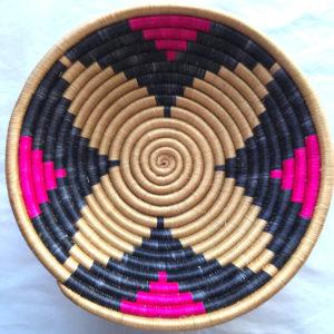 Traditional Rwandan made Basket Sisal, Black and Pink star