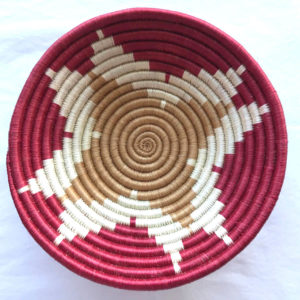 Traditional Rwandan made Basket Sisal, White and Red star