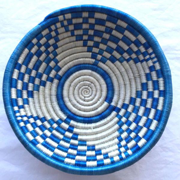 Traditional Rwandan made Basket White and Blue star