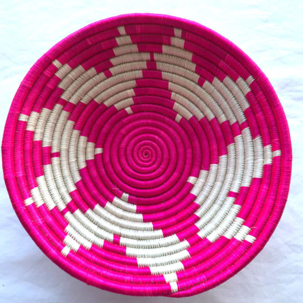 Traditional Rwandan made Basket White and Pink Star