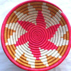 Traditional Rwandan made Basket brown, red and white star